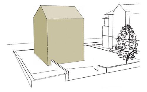 Skizze eines Mehrfamilienhauses mit sanierter Gebäudehülle